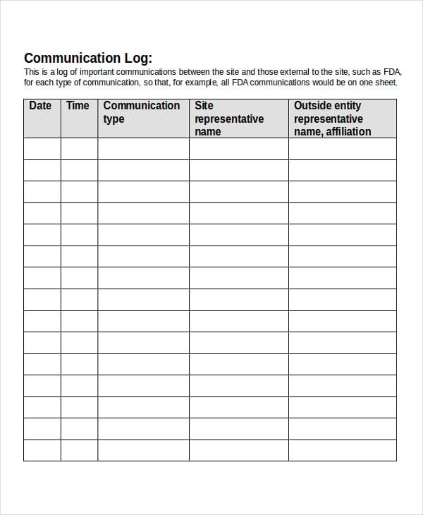 contact log template - solarfm.tk