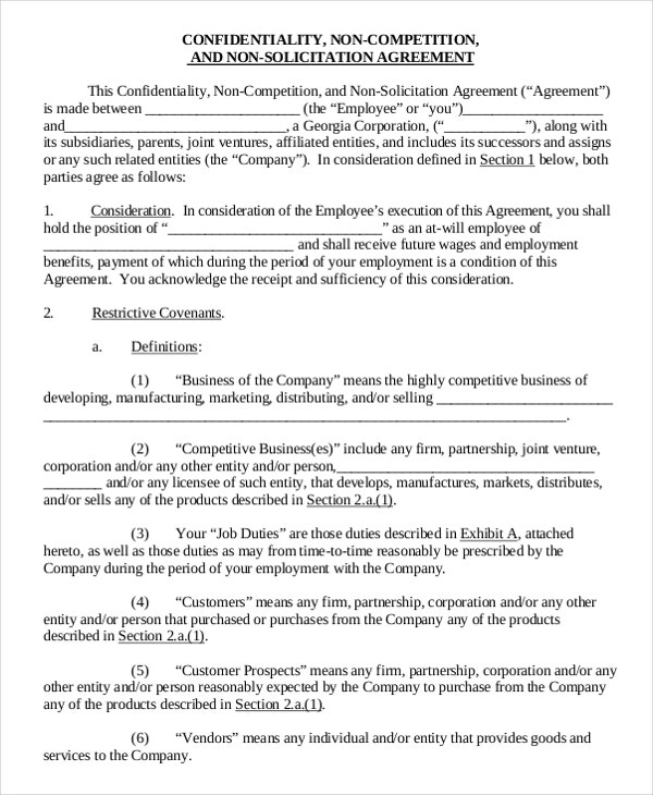 non compete agreement letter of business
