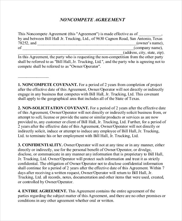 11 Business Non Compete Agreement Templates Free Sample Example