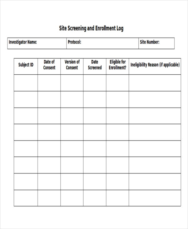 Word Log Template