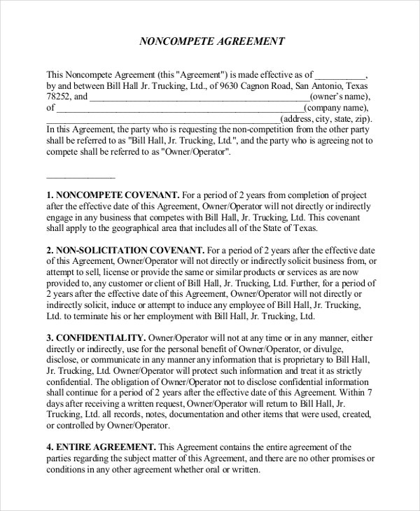 non compete agreement form11