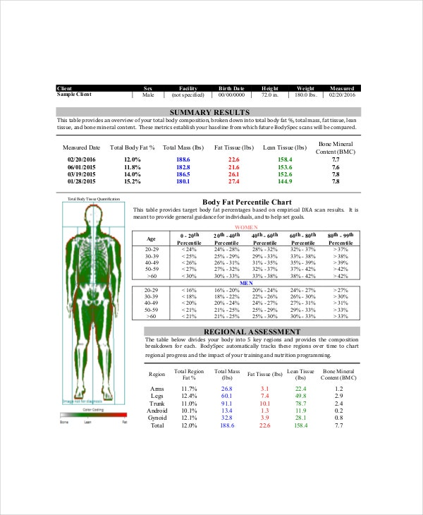 Body fat Chart Male 7 Free PDF Documents Download – Body Fat Percentage Chart Template