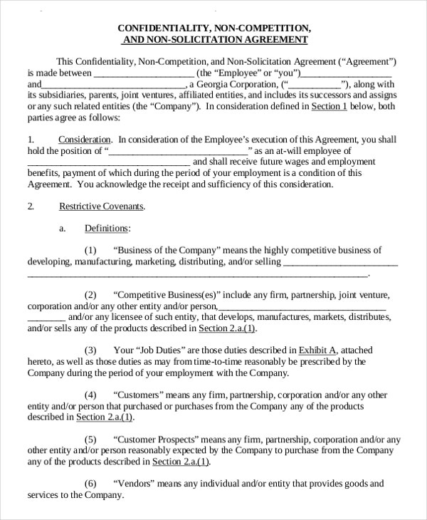 11 Standard NonCompete Agreement Templates Free Sample – Sample Non Compete Agreement Template