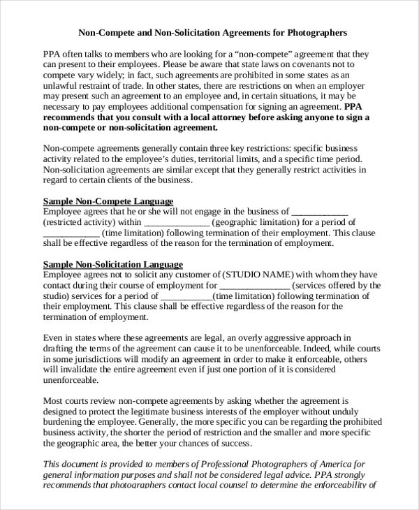 11 Standard NonCompete Agreement Templates Free Sample – Standard Employment Agreement