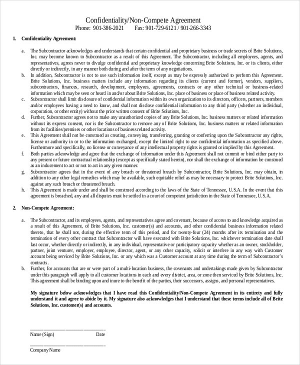 confidentiality non compete agreement2
