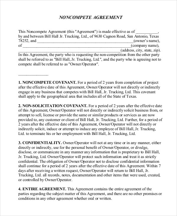 NonCompete Agreement Forms  Free Sample Example Format