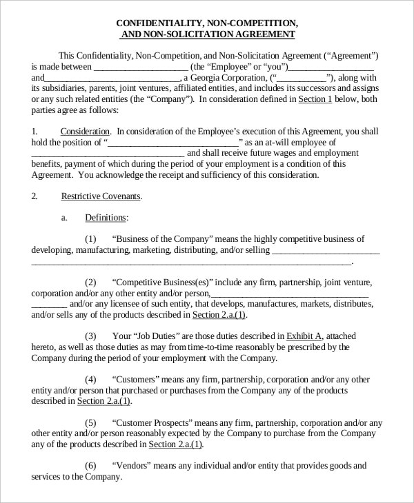 confidentiality non compete agreement3