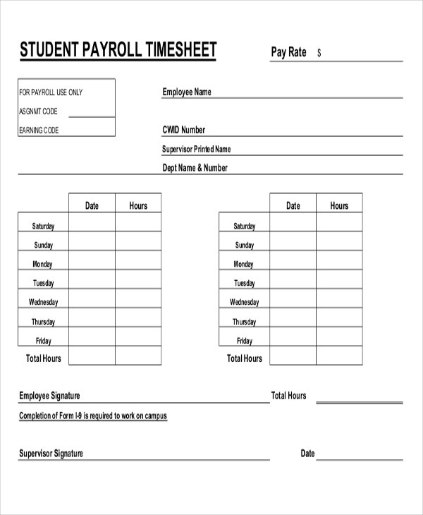 Payroll Worksheet - Davezan