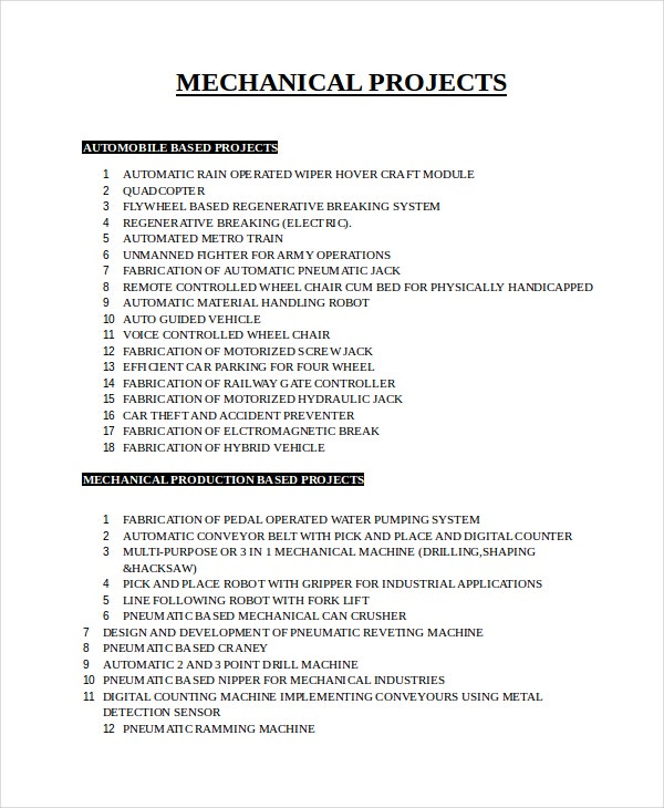 mechanical project list