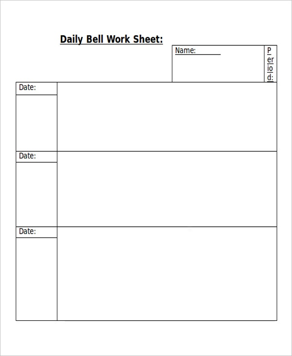 14 Work Sheet Templates Free Sample Example Format Free