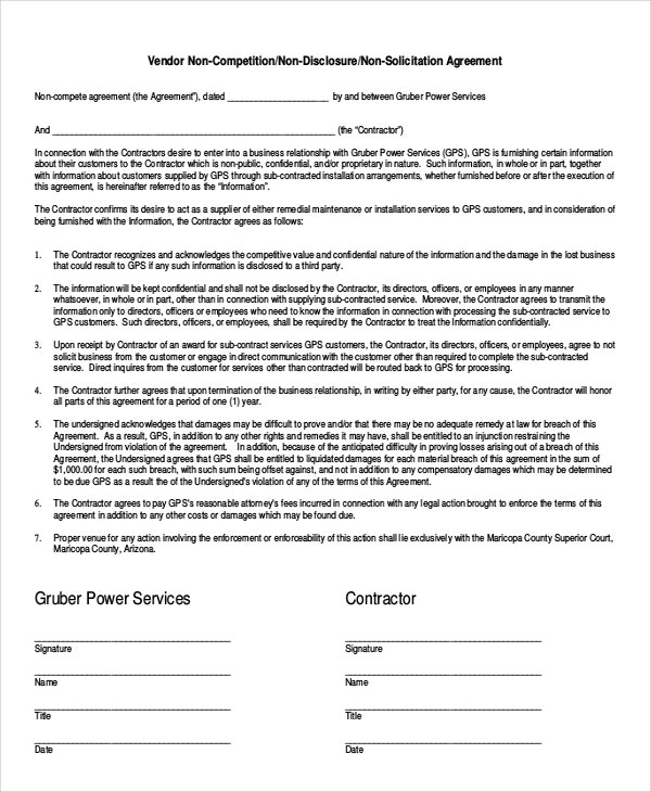 Simple NonCompete Agreement Templates  Free Sample Example