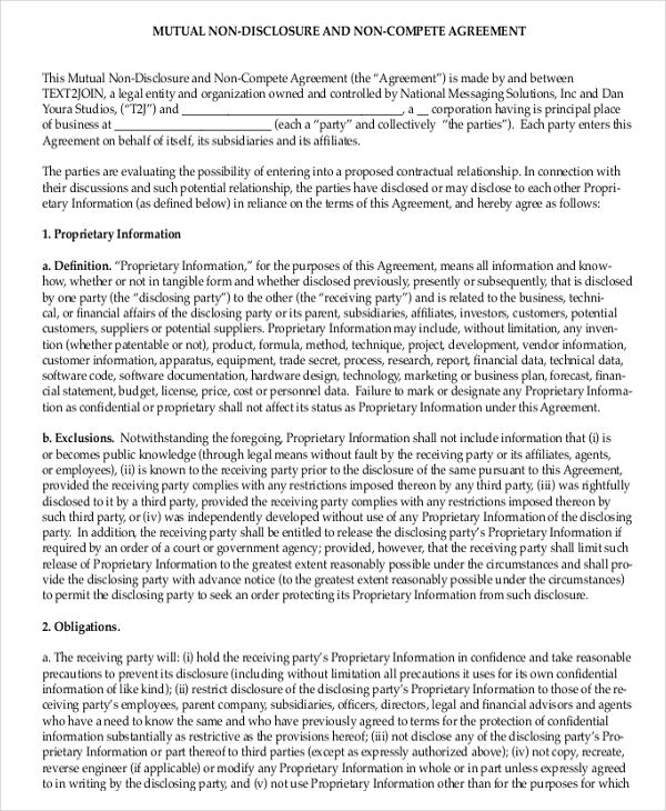 non disclosure non compete agreement12
