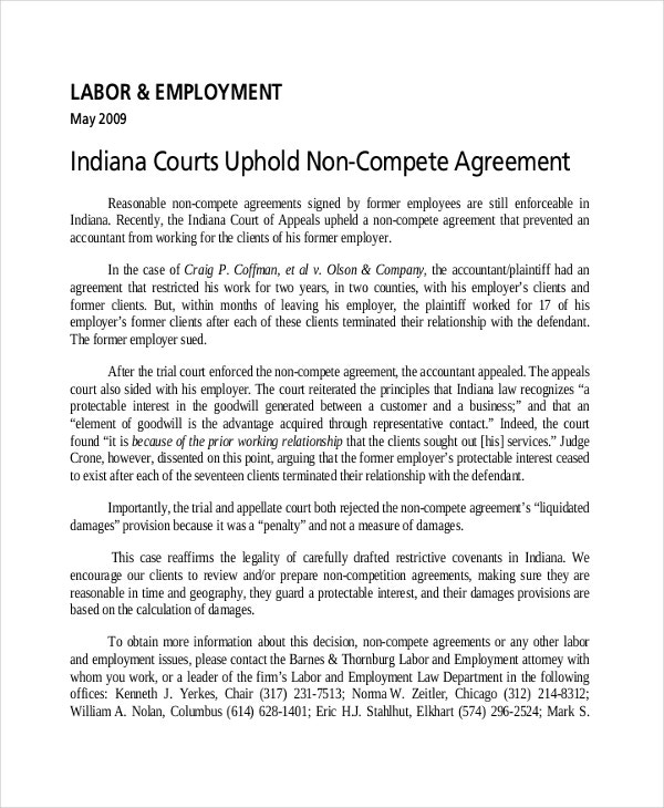 labour employment non compete agreement