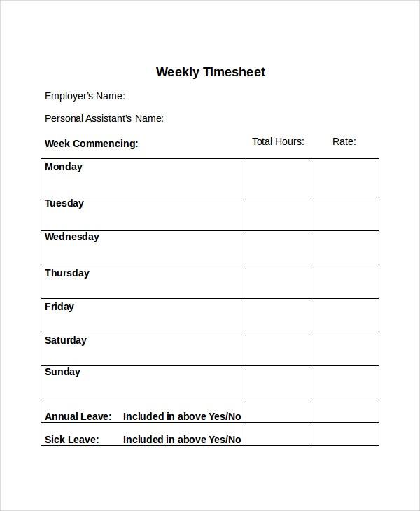 Weekly Timesheets Geccetackletartsco - Free weekly timesheet template