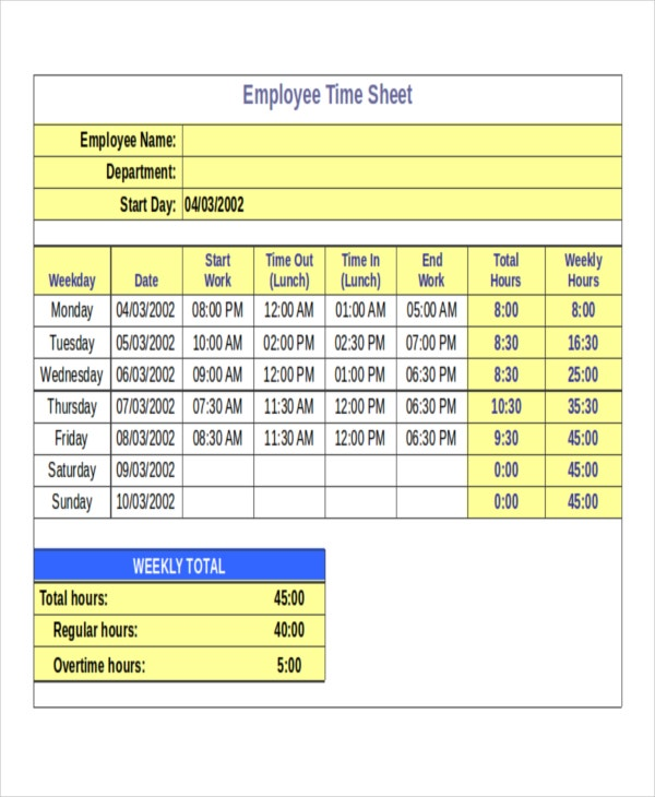 30 Timesheet Templates Free Sample Example Format