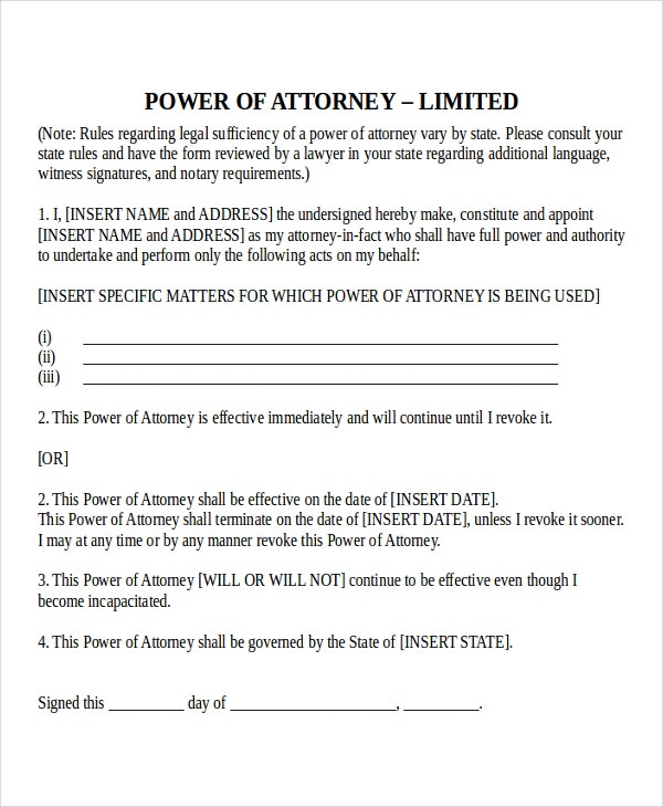 11 Power of Attorney Templates Free Sample Example Format – Blank Power of Attorney Form