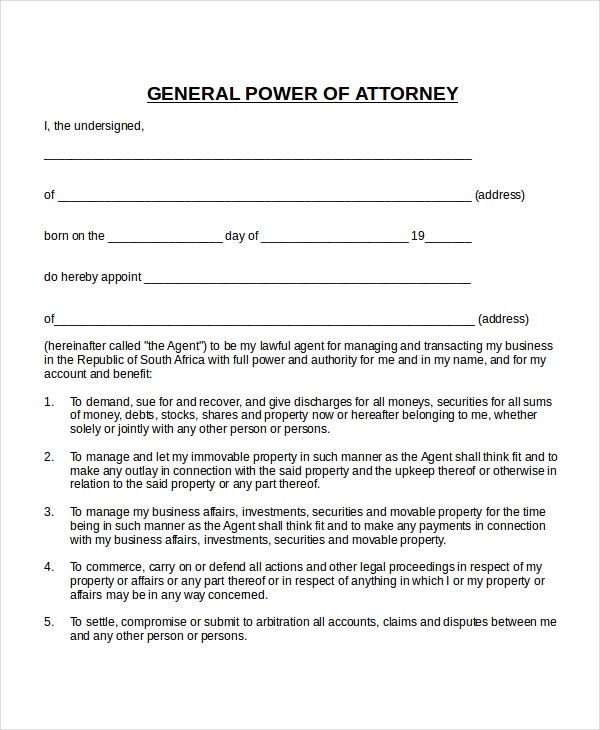 printable power of attorney form south africa  poa letter template - Fitbo.wpart.co