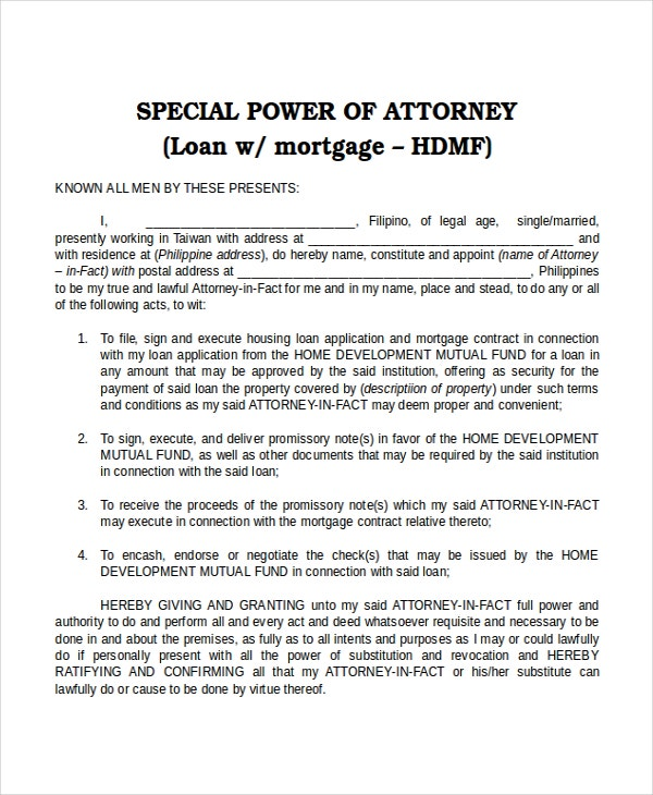 special power of attorney template