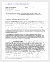 Contractor Non-Compete Agreement