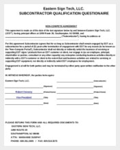 SubContractor Non-Compete Agreement