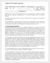 Blank Form of Non-Compete Agreement