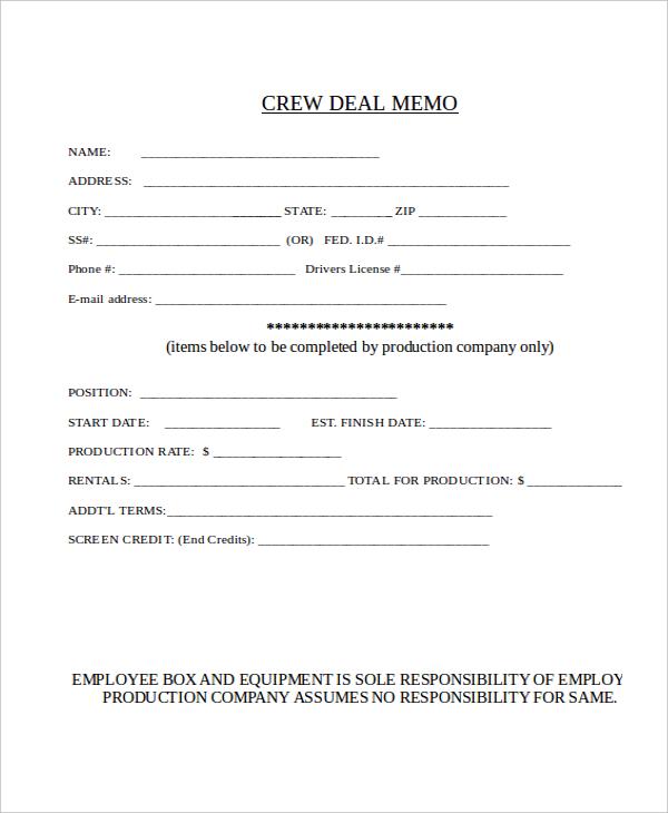 Deal Memo Template