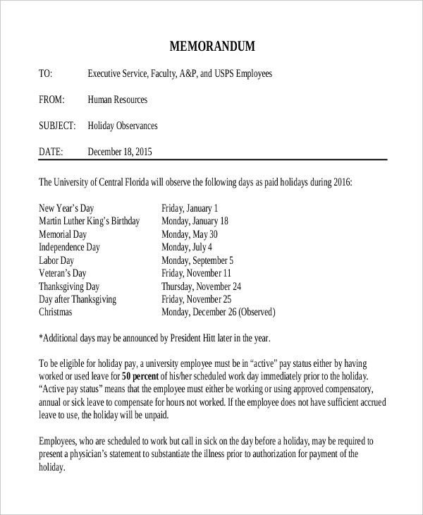 Holiday Memo Template Holiday Memo To Staff Holiday Memo Examples