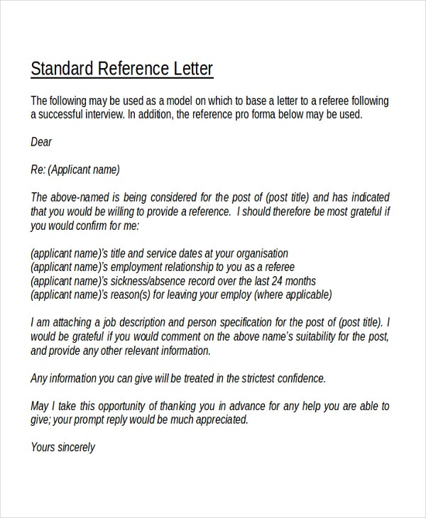Standard Reference Letter Template  Personal Letter Of Reference Template