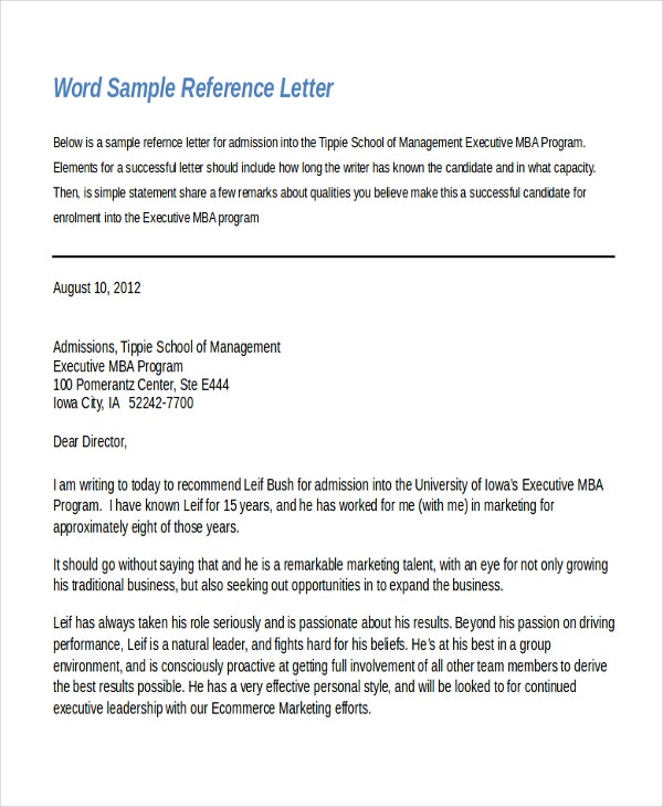 Word Reference Letter Template