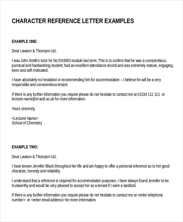 Sample character reference letter potential tenant for Character reference letter template for court uk