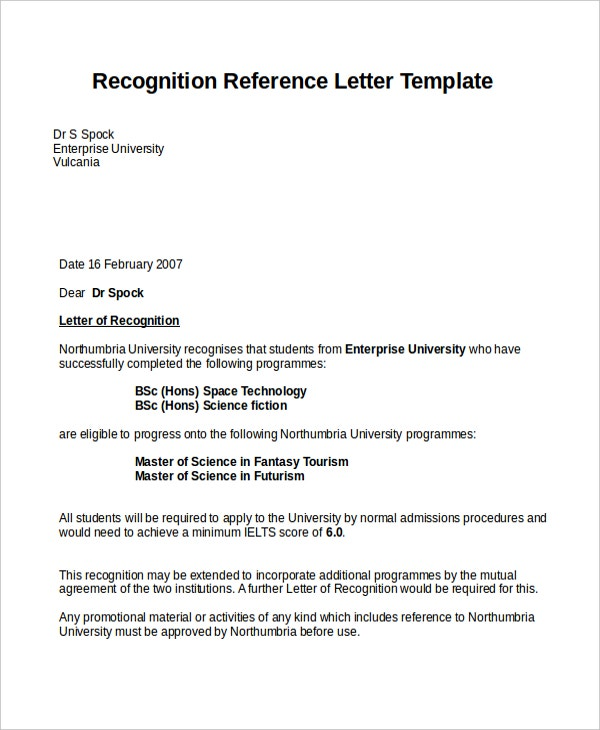Recognition Reference Letter Template