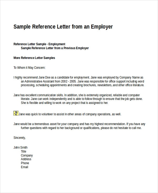 Employment Reference Letter Template Canada