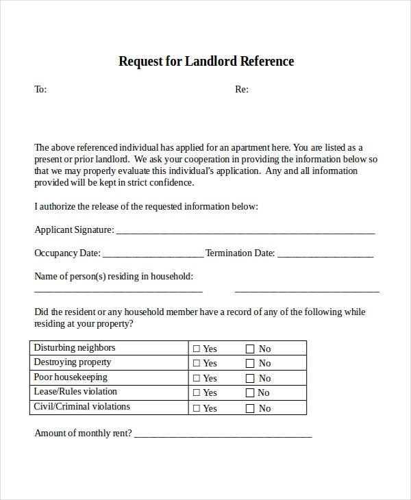 18 reference letter template free sample example for Reference letter from landlord template