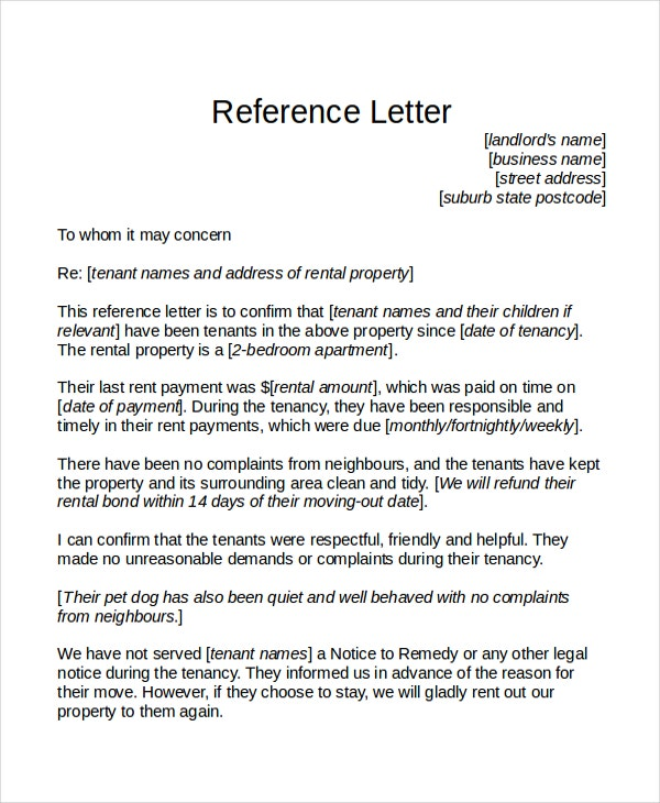 12 Reference Letter Templates Free Sample Example Format – Rental Reference Letter Sample