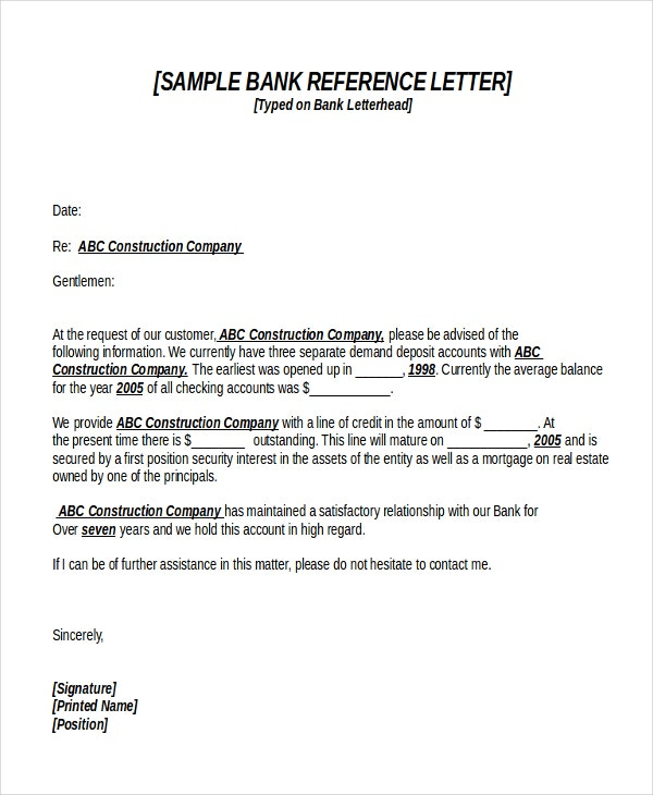 12 Reference Letter Templates Free Sample Example Format – Bank Reference Letter Sample