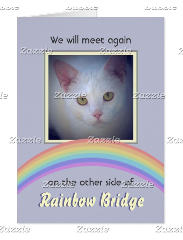 customizable rainbow bridge pet memorial card