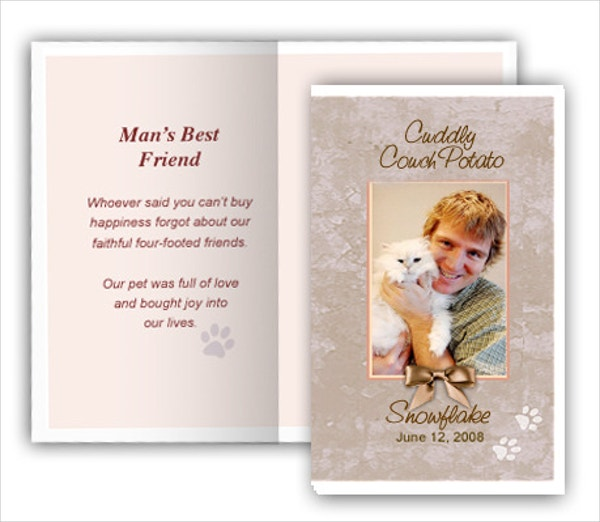tan pet memorial card