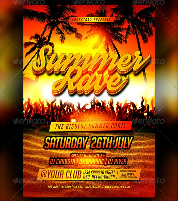 summer rave flyer template