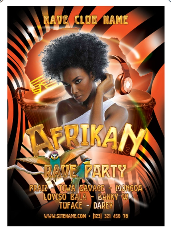 Afro Rave Party Flyer Template