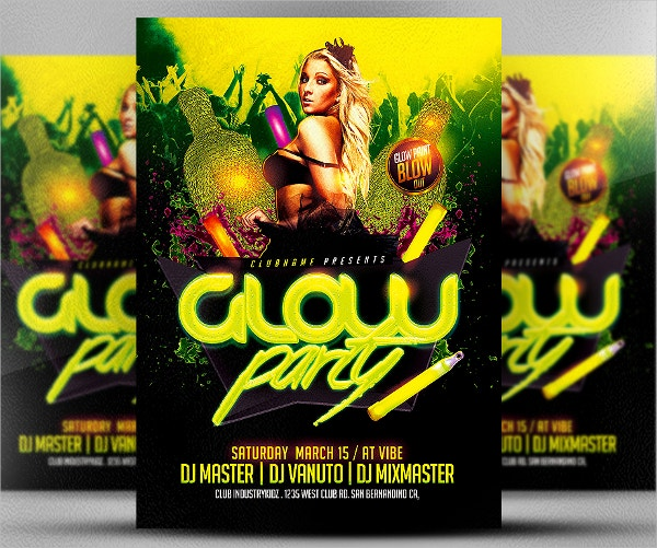 Neon Rave Party Flyer Template