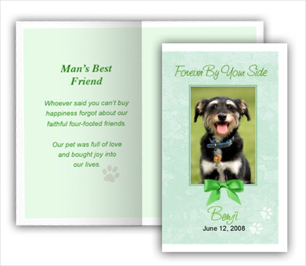 Green Pet Memorial Card