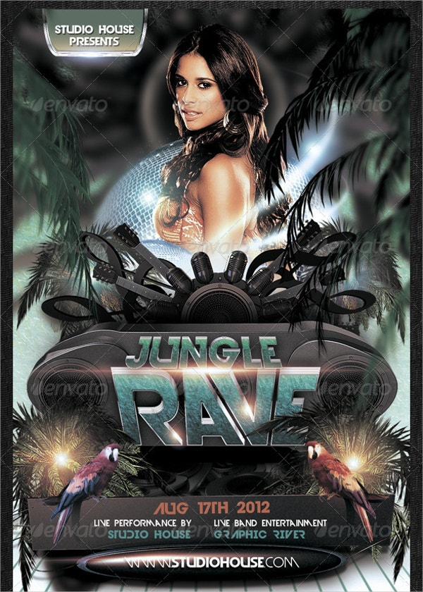 Wild Rave Party Flyer