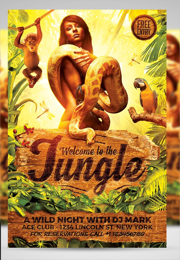 Jungle Rave Party Flyer Template
