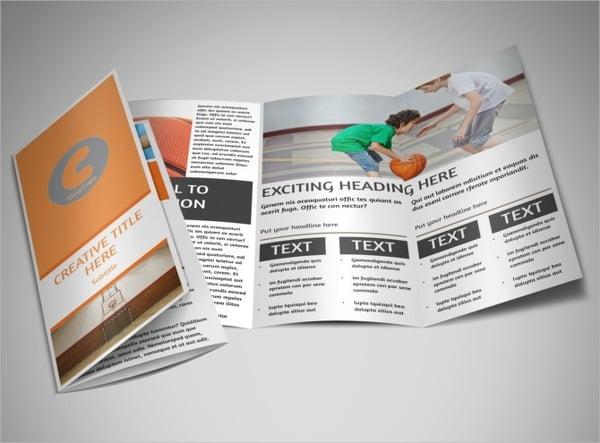 basketball camp tri fold brochure