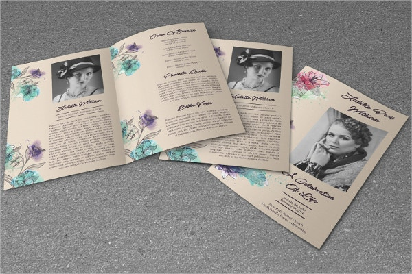 This Obituary Memorial Program template comes with three PSD files along with three unique designs. You can use both the sides of the printout. The easily editable features make it an organized template. The CMYK mode and 300 dpi resolutions add to the attractive features.