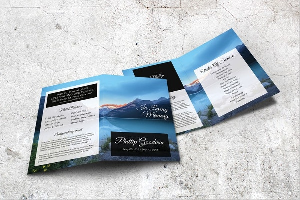 Lake Printable Memorial Program Template