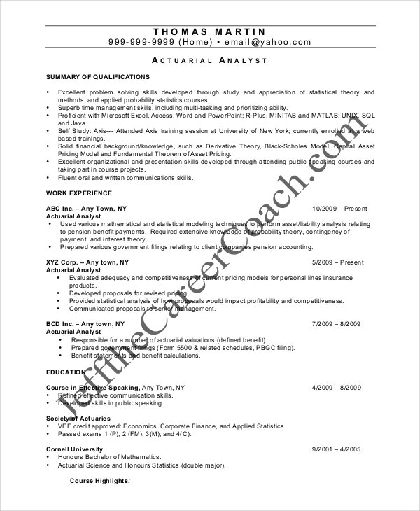 Actuary Analyst Resume Sample Resumes Resume Examples Actuary