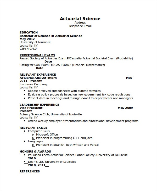 Actuarial Science Resume  Entry Level Actuary Resume