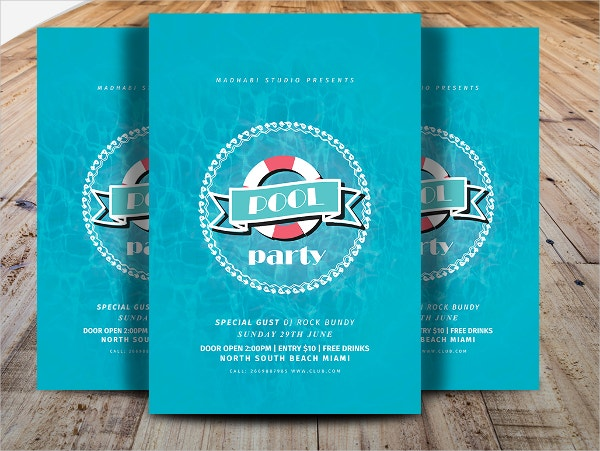 Minimal Pool Party Flyer Template