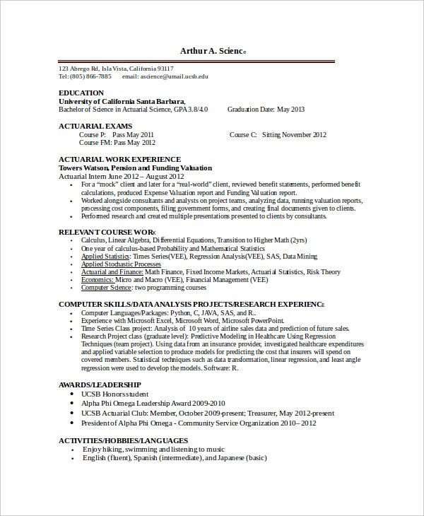 actuarial intern resume template - Sample Actuary Resume